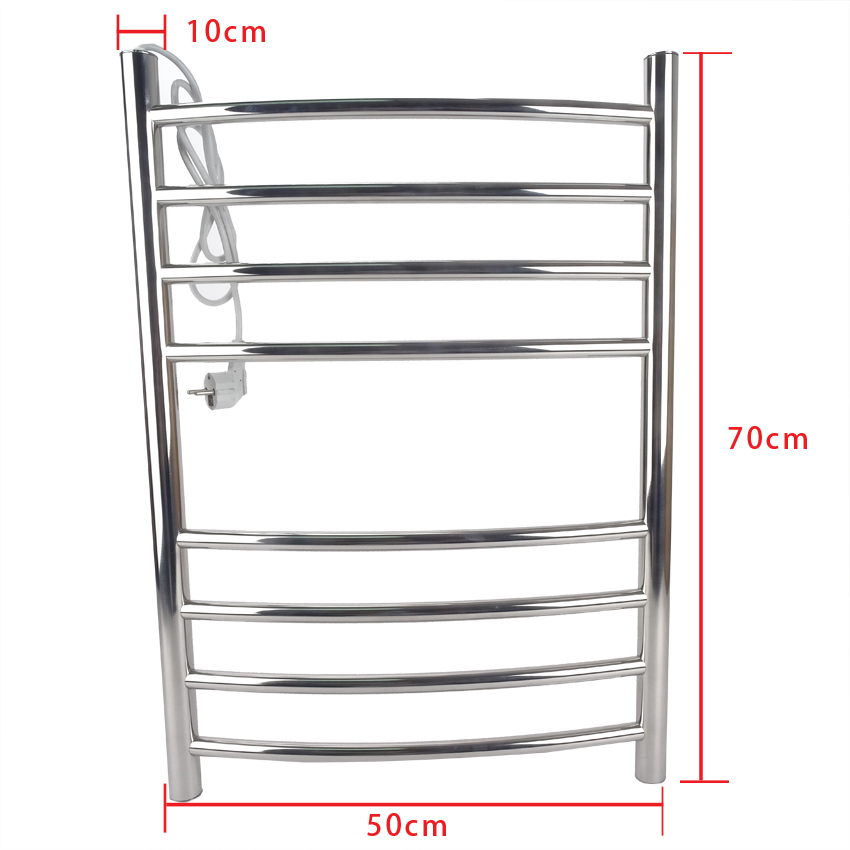 Stainless Steel Heated Towel Warmer Bathroom Wall Mounted Electric Heated Towel Rail Eight layer Towel Rack dryer 220V/110V 70W