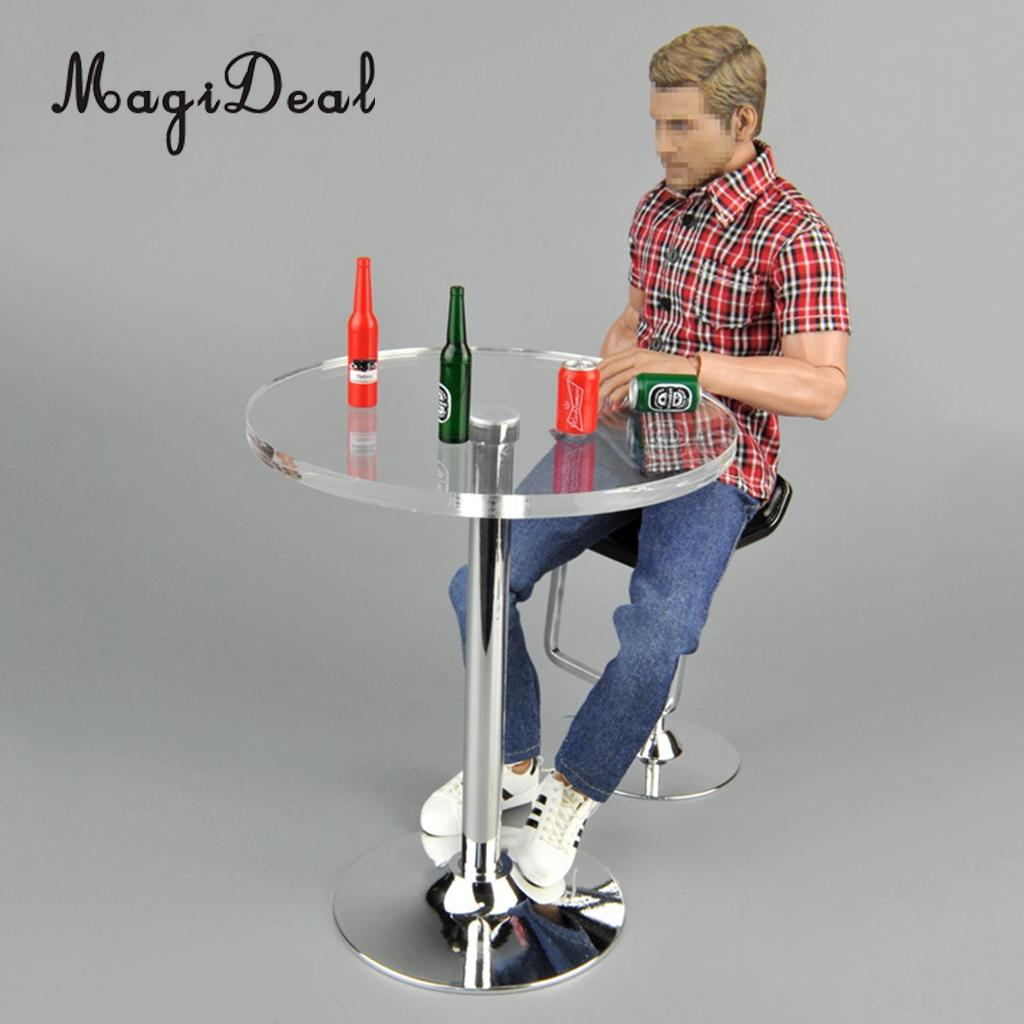 MagiDeal 1/6 Scale Round Top Pub Bar Table with Beer Bottles for 12 Inch Action Figure Dolls Dollhouse Acce Kid Pretend Play Toy цена
