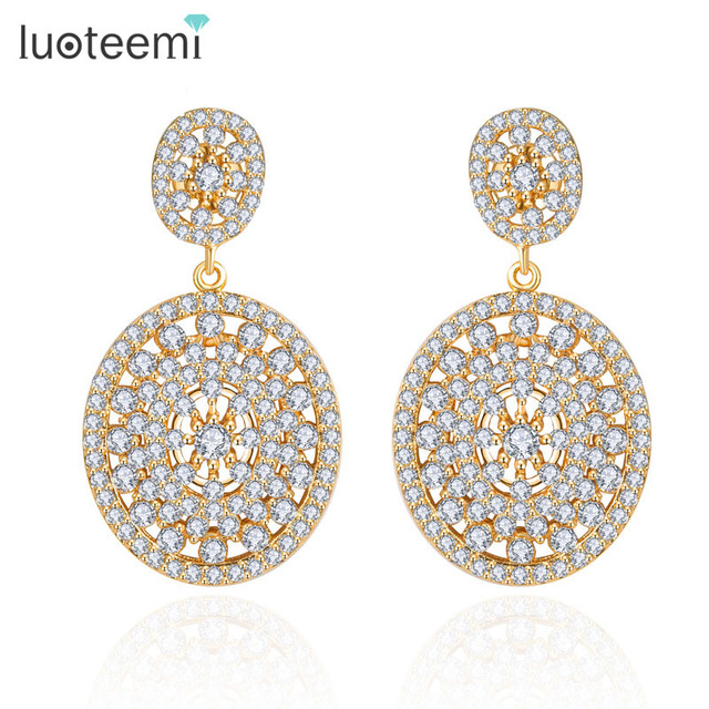 LUOTEEMI New Brincos High Quality Two Oval Shining Crystals CZ Stud Bridal Party earrings for women White /Champagne Gold Plated