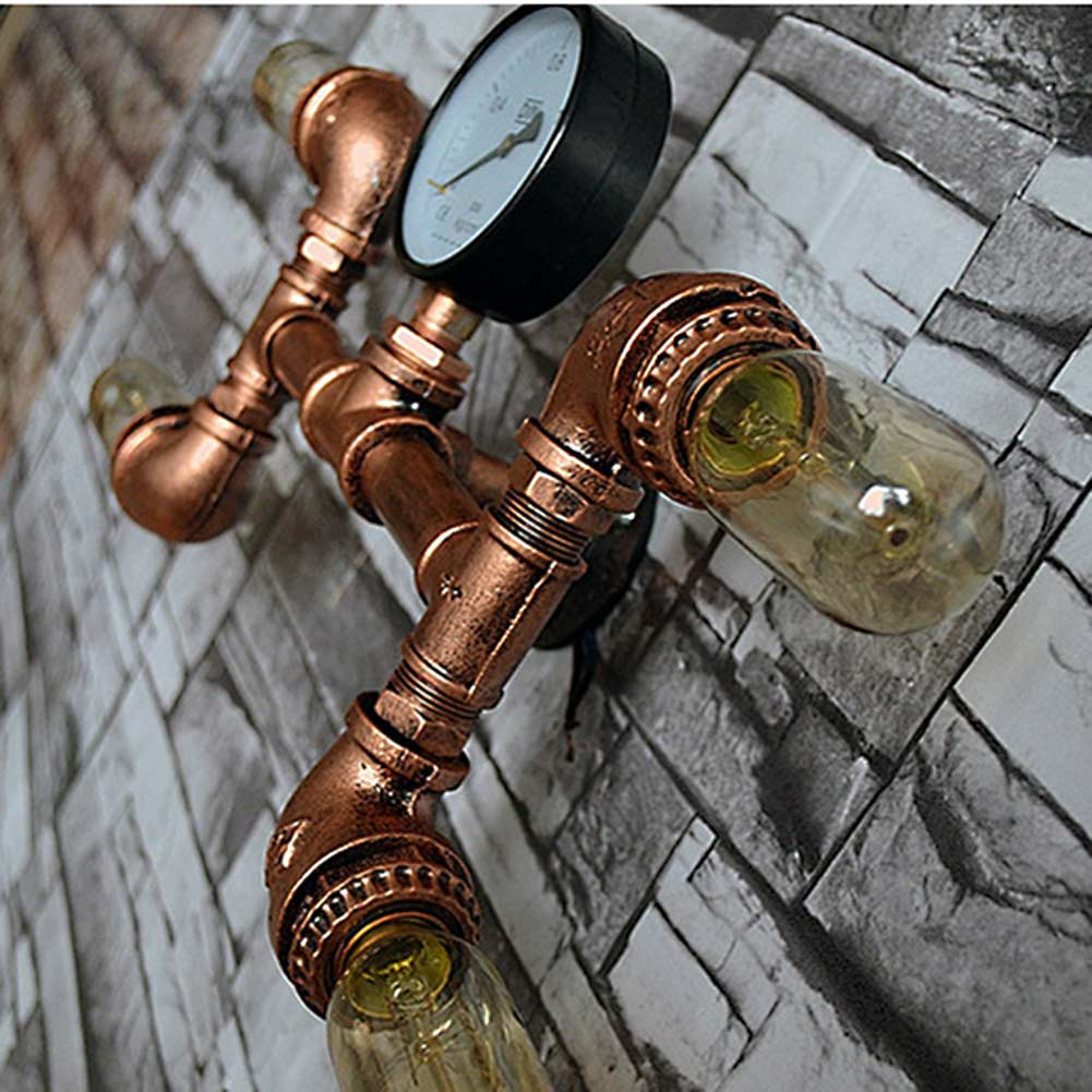 Wrought Iron Water Pipe Wall Lamp 4 Heads Vintage Aisle Light Loft Metal Wall Lamp Use Edison Incandescent Light E27 Bulb loft vintage edison glass light ceiling lamp cafe dining bar club aisle t300