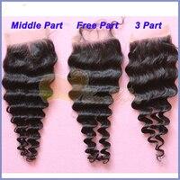 Eseewigs Human Hair Deep Wave 4X4 Lace Closure Bleach Knots Lace Closure Hairpieces Peruvian Remy Hair Closure With Baby Hair