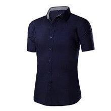 Большие размеры 5 xl чистый цвет модные повседневные хлопковые рубашки с короткими рукавами в летом 2018 мужчин общества Бизнес рубашка