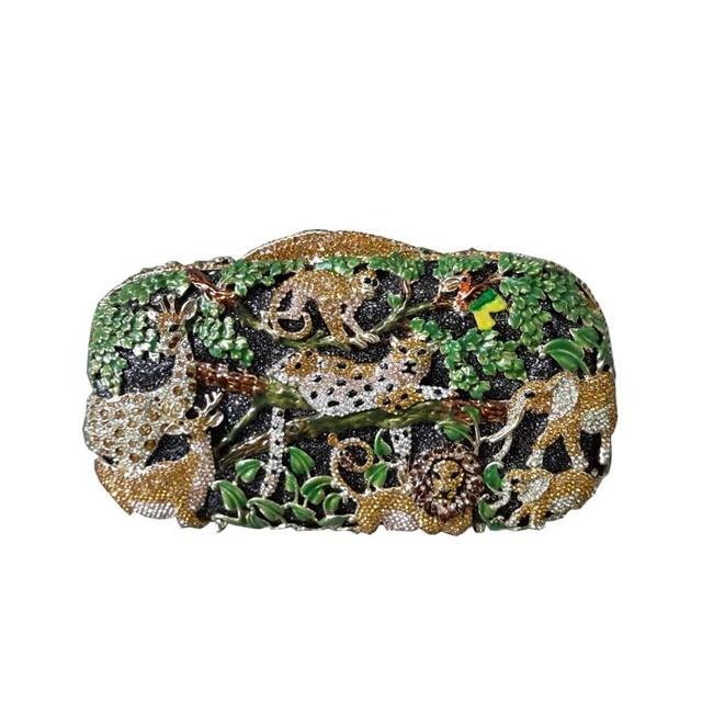 Luxury Safari Animal Purse  Women Evening Bag Crystal Clutch Zoo Pattern Party Handbag Purse Diamonds Hollow Out High Quality