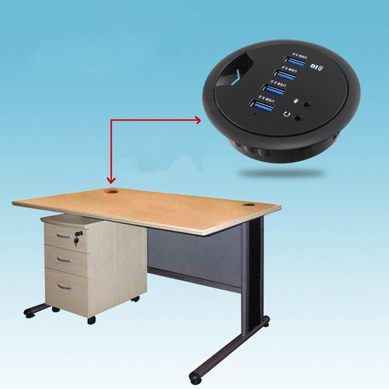цены на Mount In Desk 4-Port USB 3.0 HUB Adapter and External Stereo Sound Adapter Combo office USB HUB European standard plug new A30 в интернет-магазинах