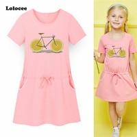 Fashion Design 3 13y Girls Dress Cotton Cute Lemon Bicycle Print Baby Girls Dress 2018 Summer