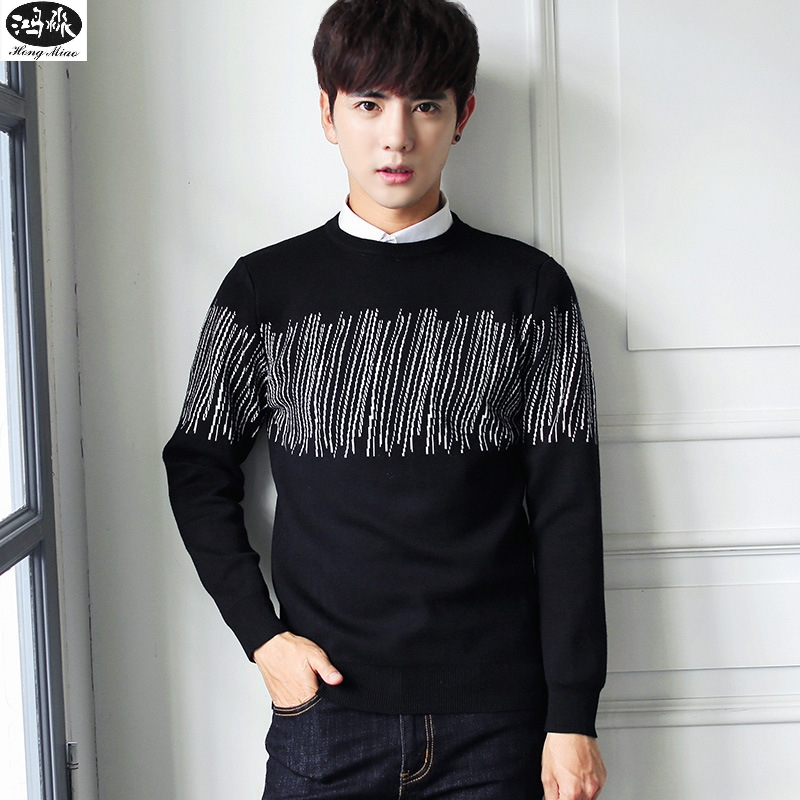 2018 Autumn Pullover Sweaters Fashion Men O-neck Long-sleeve Solid Color Knitted Leisure Tops Thin Sweater