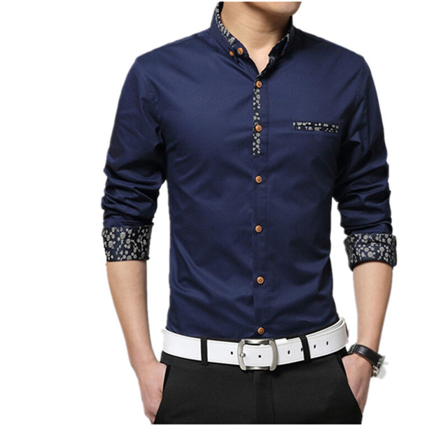 2015 New Spring Pure Cotton Men Casual Shirts Fashion Long Sleeve Mens Shirt Fashion Formal Male Shirts 4xl Highquality