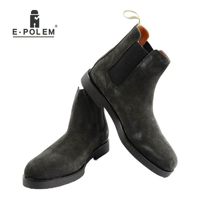 eb655a0d4e9 US $103.5 10% OFF|2018 Autumn Winter Mens Genuine Leather Chelsea Ankle  Boots Men Brown And Gray Slip On Casual Casual Winter High Leather Boots-in  ...