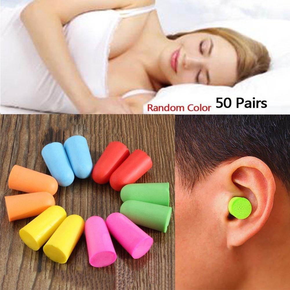 50 Pairs Sound Insulation Ear Protection Comfort Soft Foam Ear Plugs Tapered Travel Sleep Noise Reduction Prevention Earplugs