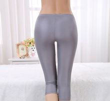 Summer new silk leggings female 100% silk seven points anti – light trousers simple Slim A73
