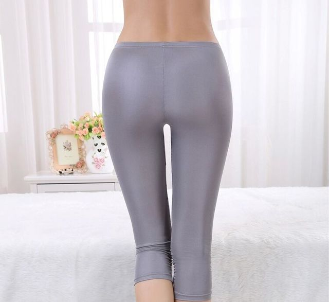 Summer new silk leggings female 100% silk seven points anti - light  trousers simple Slim A73
