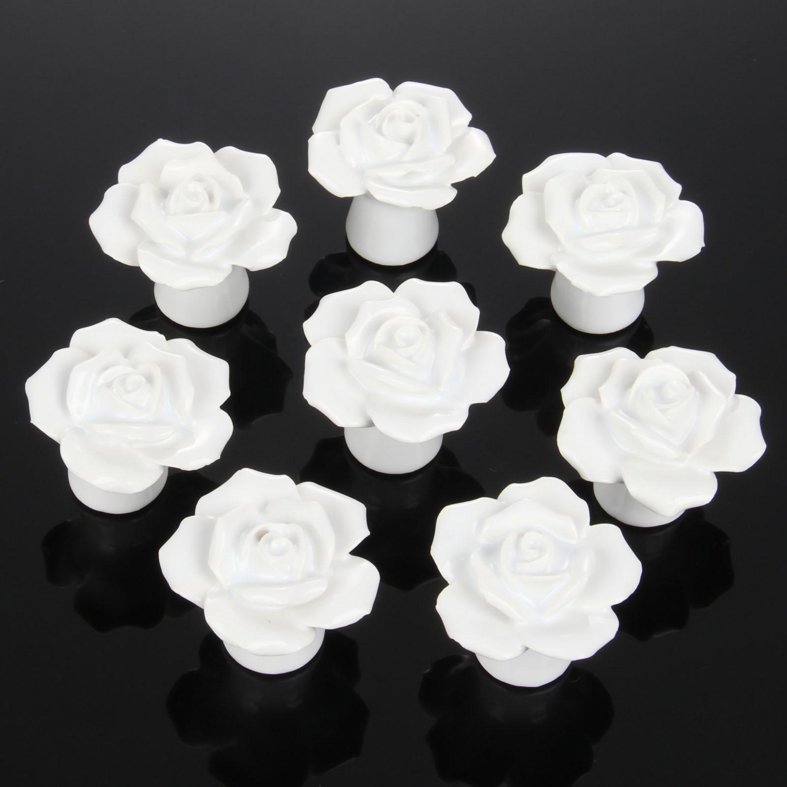 8Pcs Furniture Handles Ceramic Cabinet Knobs and Handles Door Cupboard Drawer Kitchen Pull Handles Furniture Fittings White Rose furniture drawer handles wardrobe door handle and knobs cabinet kitchen hardware pull gold silver long hole spacing c c 96 224mm