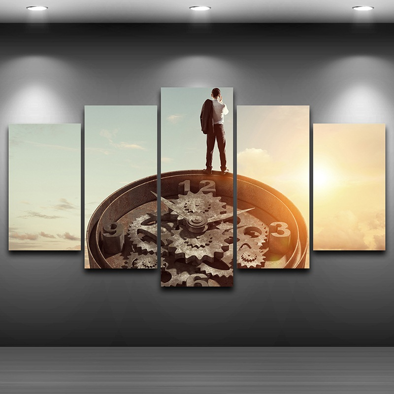 Artistic Print Painting on Canvas Framed wall art pictures Spray Oil Painting Decoration HD Printed Home Decor Old Clock AE0279