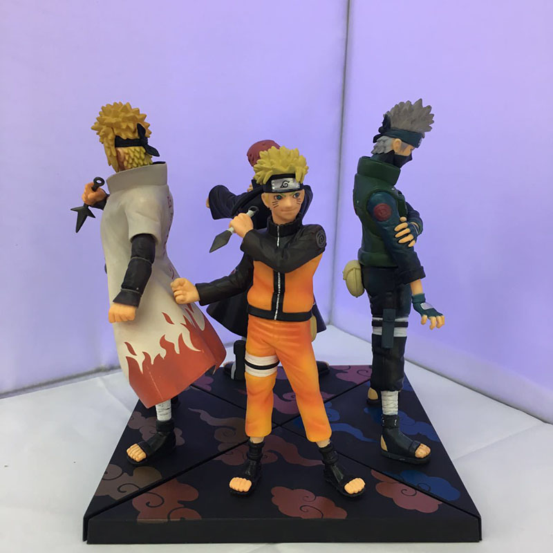 2Pcs Set Naruto Uzumaki Naruto Namikaze Minato Sasori Kakashi Pvc Action Figures Cool Anime Collection Model Kids Toys 17-19cm 2pcs set lovers mask anti fog and haze anti pm2 5 breathable breathing valve couples masks dust masks pink blue 2pcs gm5217