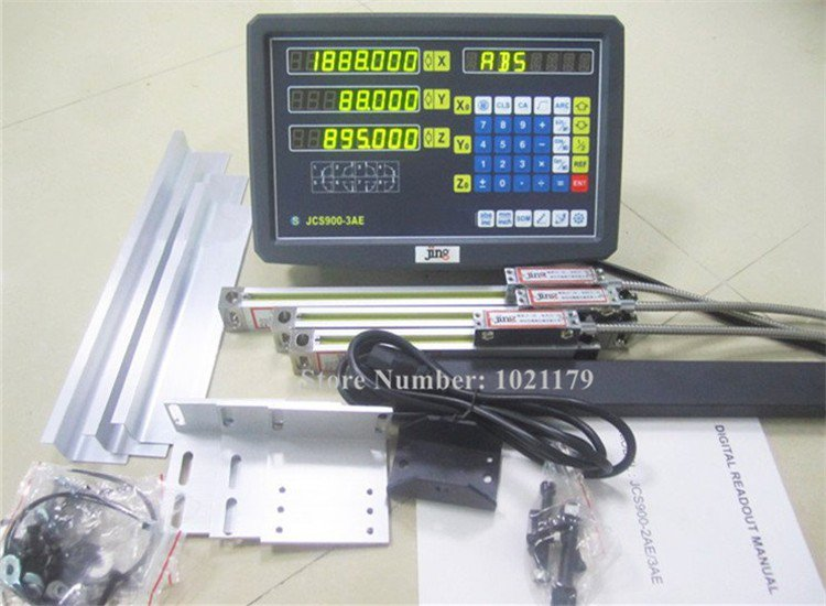 A máquina de trituração nova do moedor do torno molha a leitura digital de 3 eixos dos jogos dro com escala linear 100-1000mm 5 codificador linear do mícron