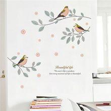 Adesivo de parede decorativo de pássaros, ramos de árvore com desenho, decalques de parede para sala, quarto, decoração, pvc, faça você mesmo, mural, posteres