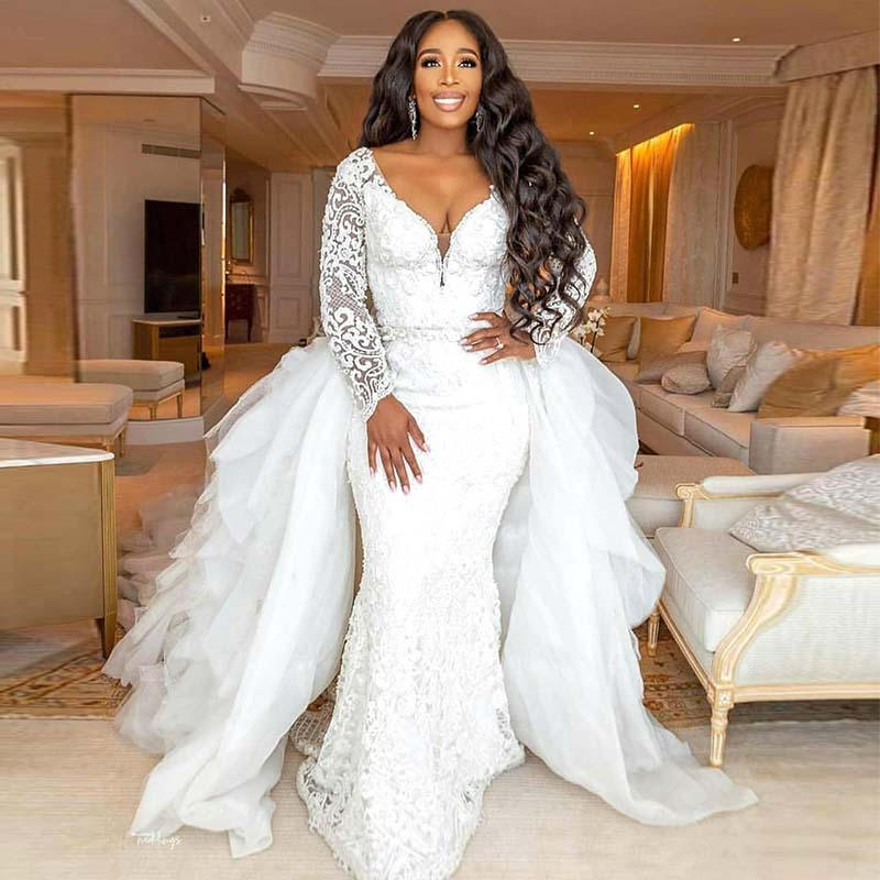 2019 Mermaid Wedding Dress With Detachable Skirt African Lace Appliqued Long Sleeve Wedding Gown Plus Size Bridal Dresses