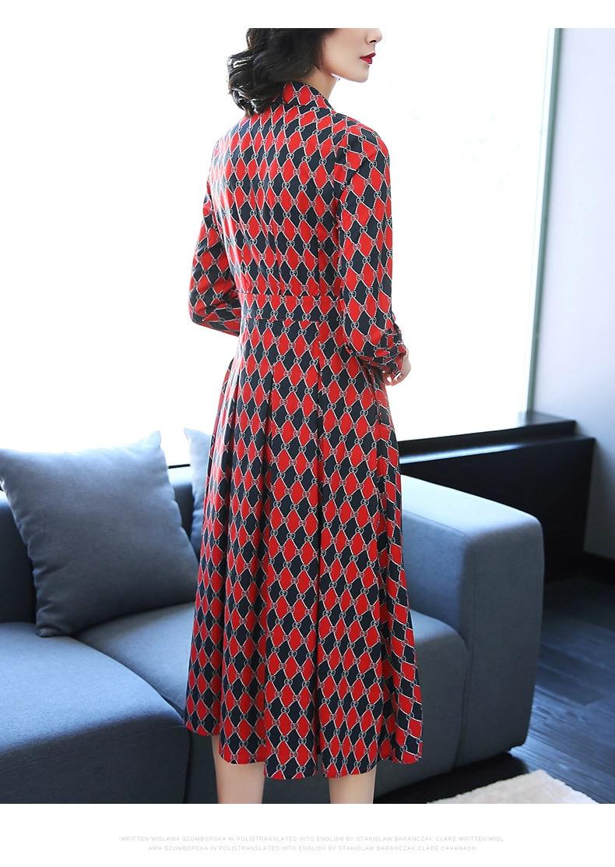 Revers Piste Mince Mode Robe Mosaïque D'impression Nouveau Contraste Haute Femelle Chemise Classique Printemps Longue Géométrique Taille 2019 rHqzxHt