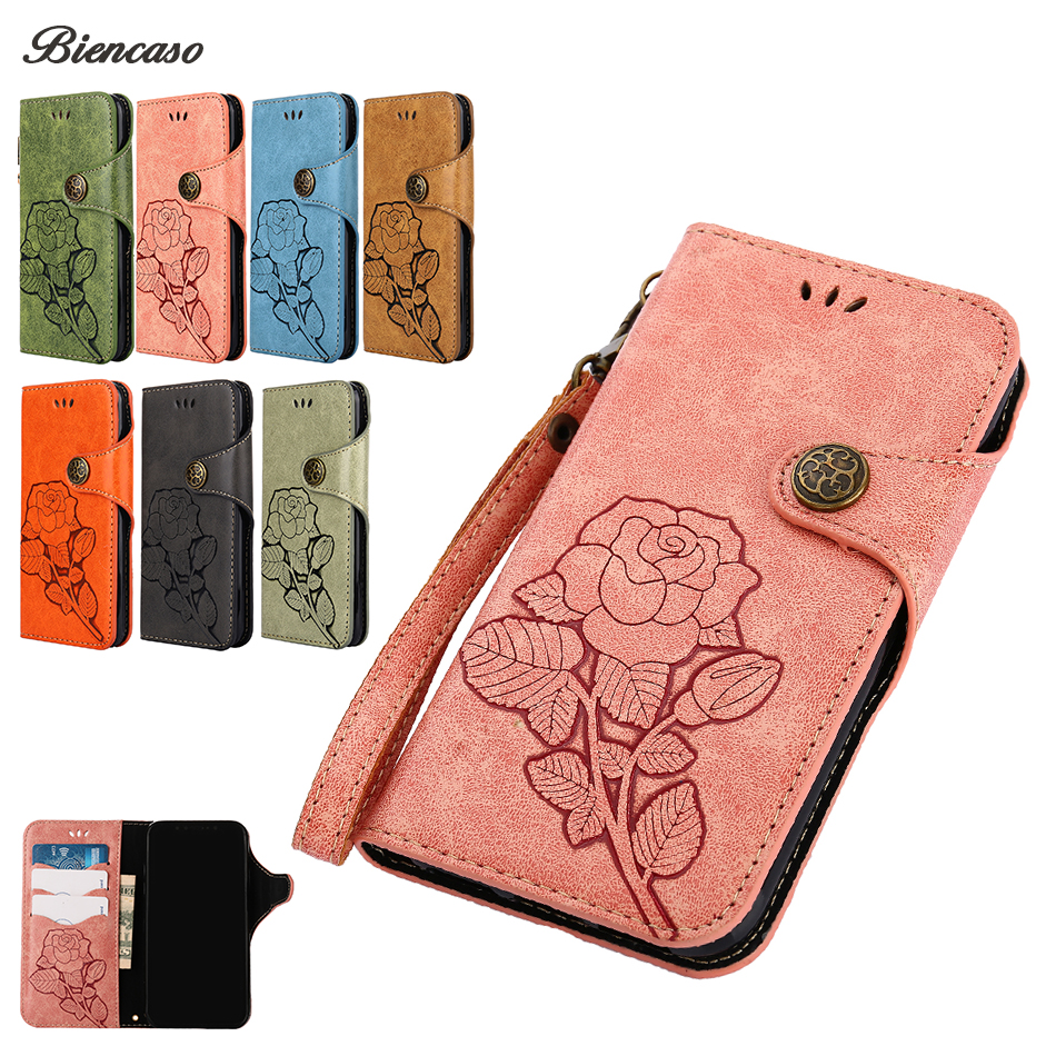 For iPhone X Case Phone Cases Emboss Rose Retro PU Leather Flip Wallet For iPhone 7 8 Plus 6 6s 5 5s SE 4 4s Back Cover B196