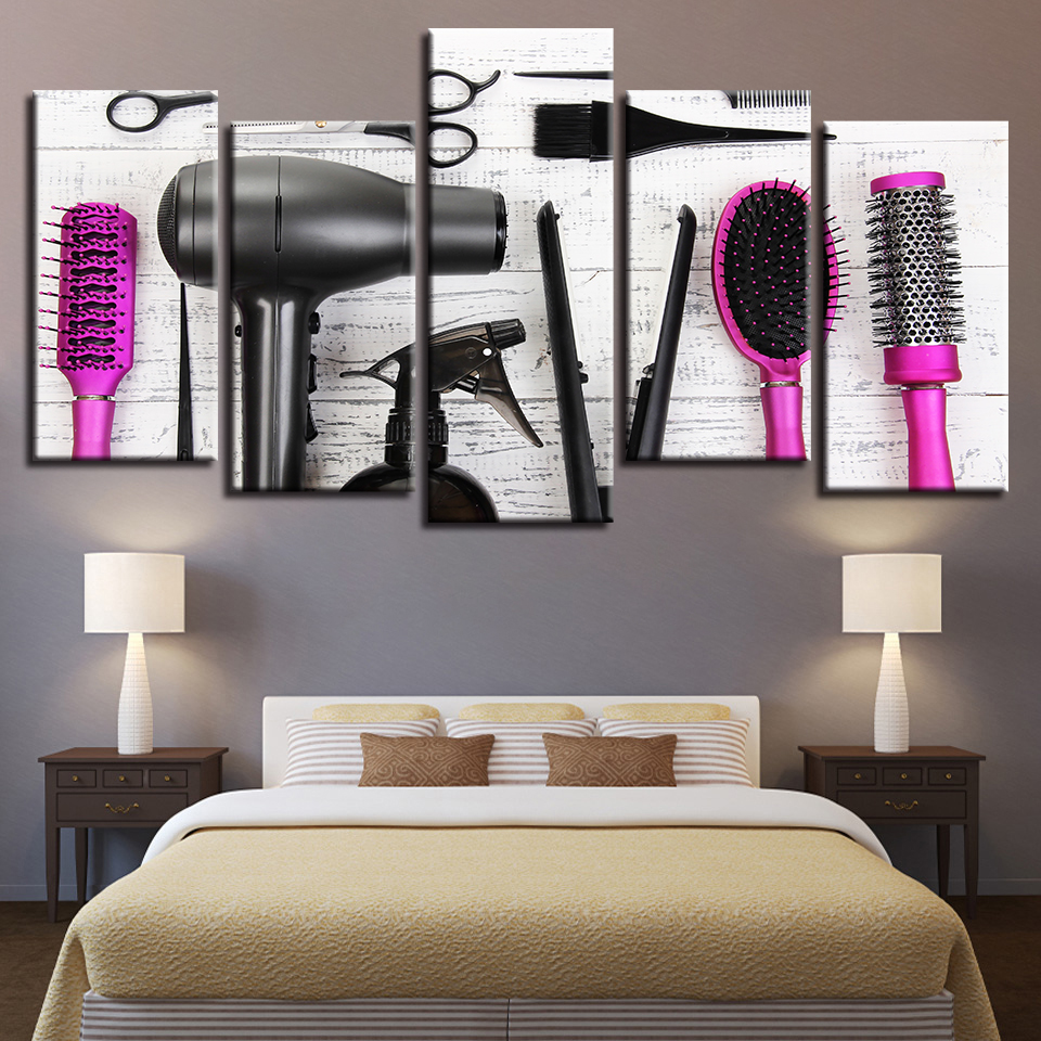 Canvas Wall Art Pictures 5 Piece Hairdressing Tools