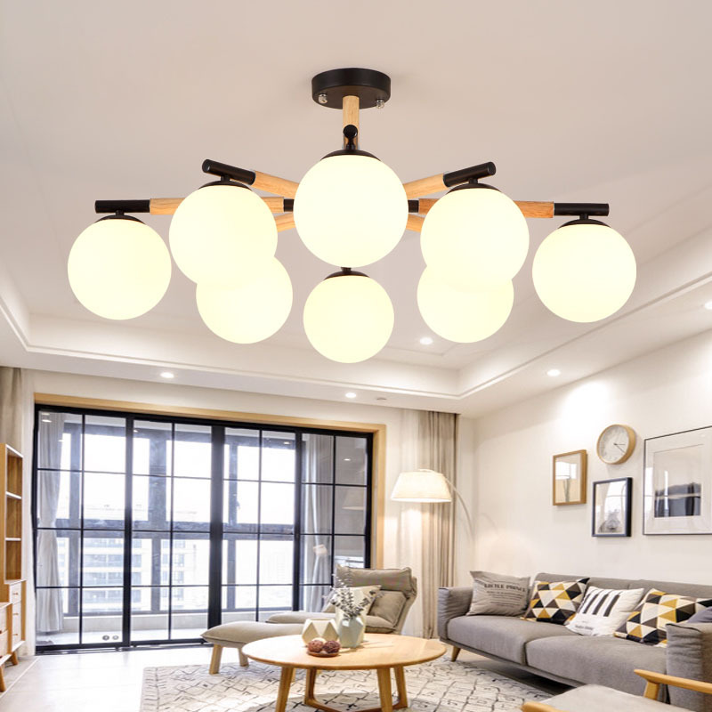 Ceiling Lights & Fans Modern Led Luminaires Wooden Chandelier Loft Lighting Novelty Fixtures Nordic Hanging Lights Living Room Pendant Lamps Chandeliers