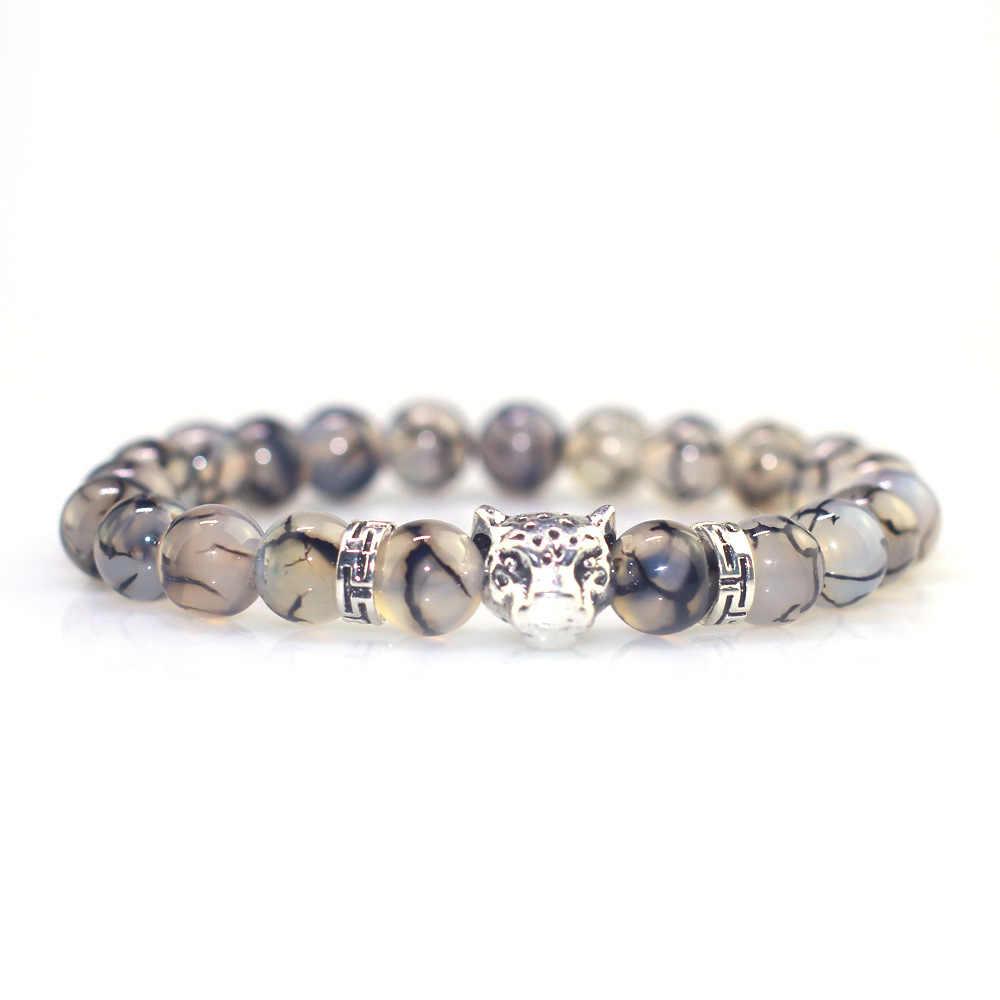 Черный и белый узор дракона мужской браслет из бисера простой сплав Леопард голова ретро браслет золото и серебро два цвета