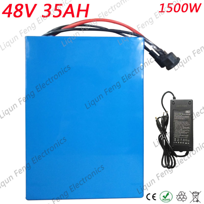 Free Customs Duty E-Bike Battery 48V 35AH High Power 1500W Lithium Battery Pack for 48V Electric Bike with 54.6V Charger 30A BMS