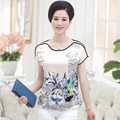 Mujer del verano más el tamaño de Impresión Del O-cuello de Manga Corta Alas de Murciélago loose 26% tops de seda femenino de gran tamaño de cobertura delgada tees Camiseta de la señora