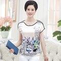 Mulher plus size verão Impressão O Pescoço Curto Batwing Luva frouxo tops 26% seda feminino hedging magro tees lady T-shirt de grandes dimensões