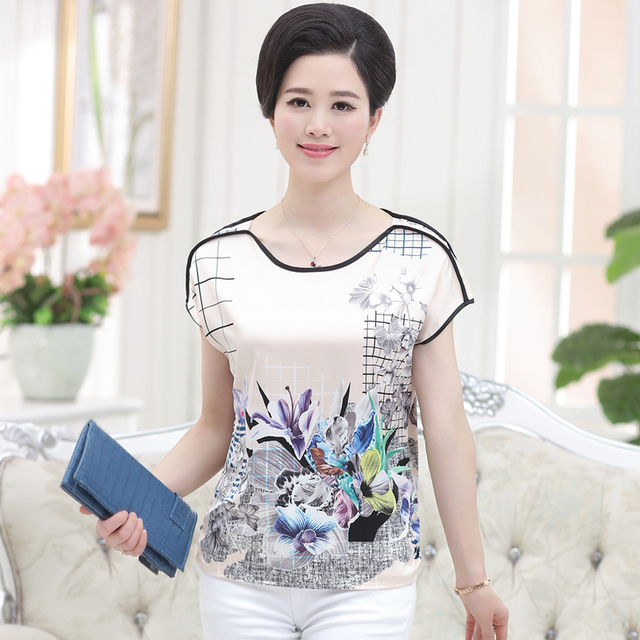 Woman summer plus size Print O-neck Short Batwing Sleeve loose 26% silk tops female oversized hedging slim tees lady T-shirt