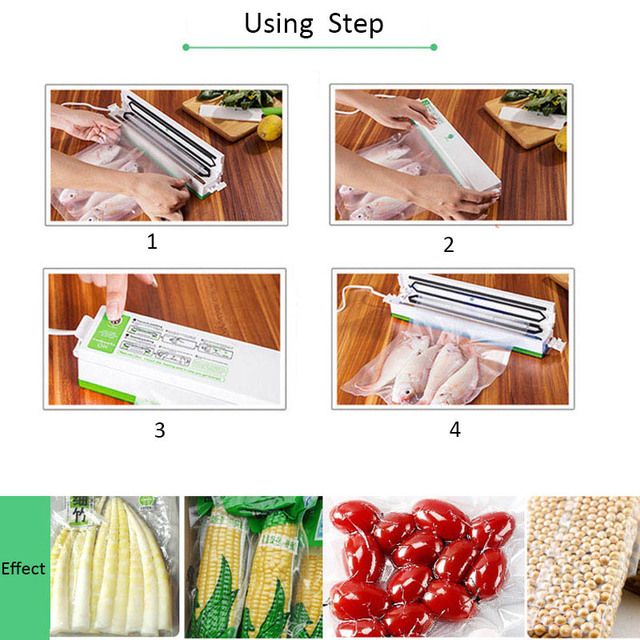 Newest 220V Vacuum Food Sealers with Free Bags Kitchen Appliances Vacuum Packing Sealing Machine Vacuum Packages Packer for Food