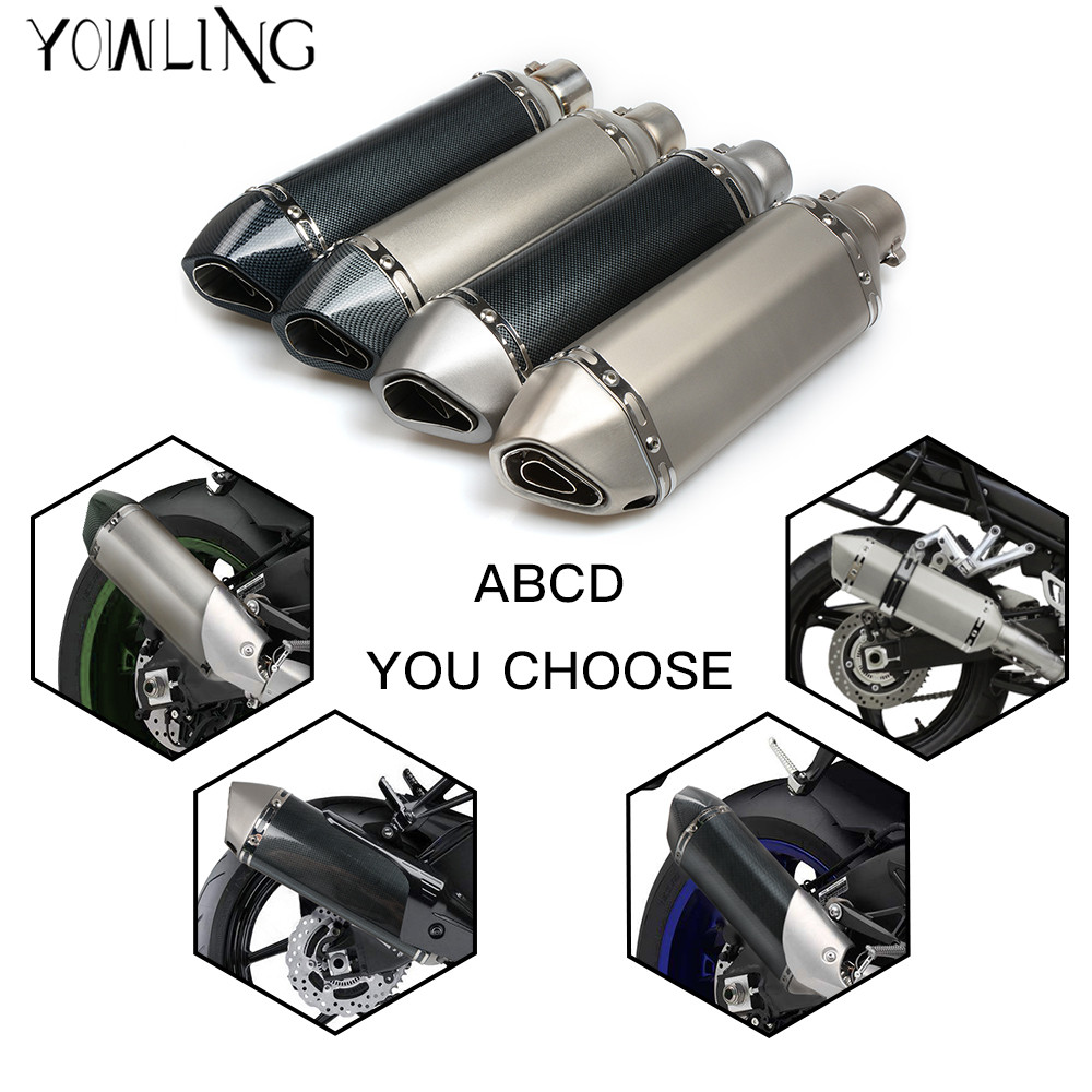 UNIVERSAL 36mm-51mm MOTORCYCLE carbon fiber EXHAUST pipe ATV muffler ESCAPE DIRT BIKE SCOOTER for most motorbike