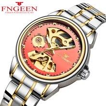 Для женщин часы 2018 лучший бренд FNGEEN модные роскошные Wind автоматические часы женские Hodinky Скелет Tourbillon механические часы