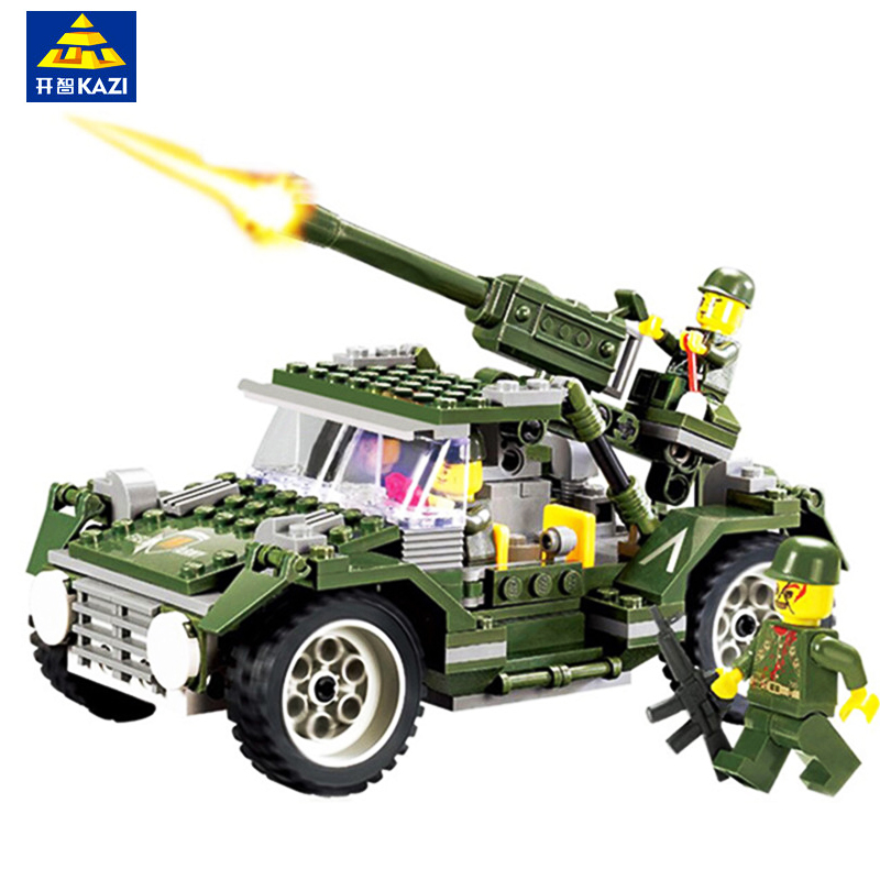 KAZI 241PCS Military Building Blocks Bricks Toys For Children Gifts Army Cars Truck Soldier Figures Weapon Compatible With Legoe ausini95 automatic rifle military arms building blocks educational toys for children plastic bricks best friend legoe compatible
