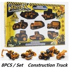 Konstruktion Fordon Set / Engineering Trucks 8st i en uppsättning, Frihjul, Inga lampor, Toy Car Modell, Fickleksaker
