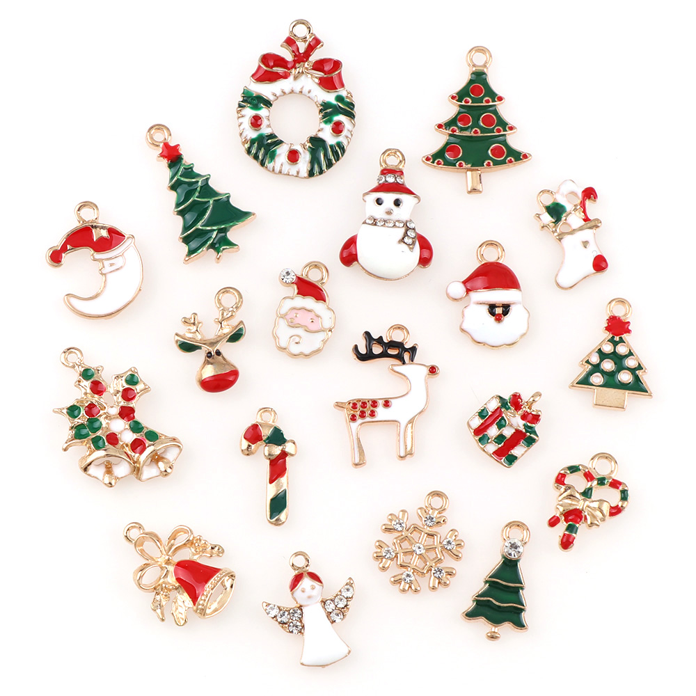 10pcs Mixed Christmas Tree Deer Bell Charm Pendant for Jewelry Making Craft