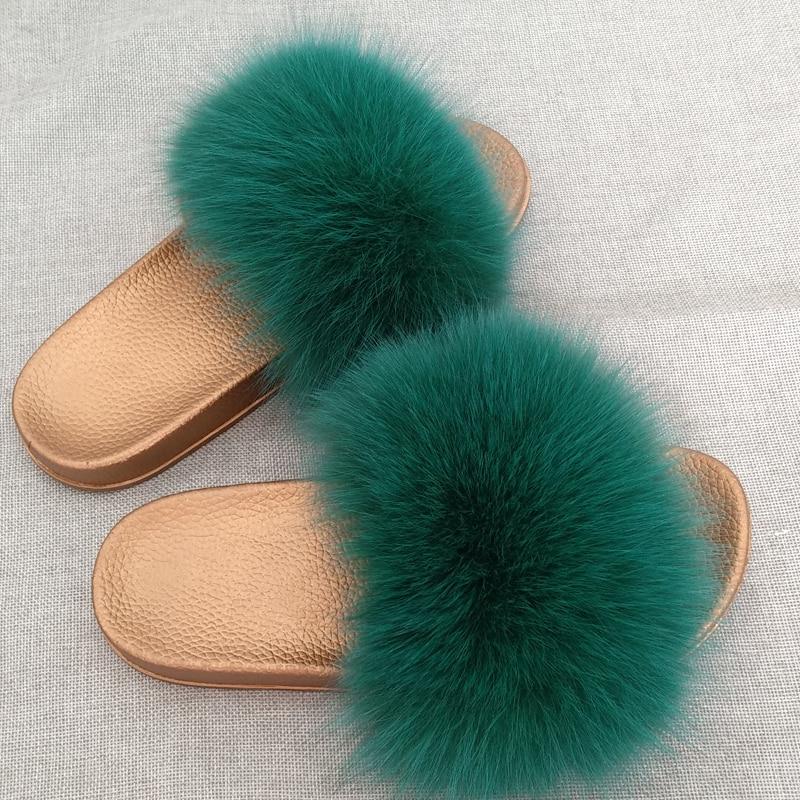 JKP Winter Warme Vrouwen Bont Slippers Mode Echte Vossenbont Strand - Baby schoentjes - Foto 6