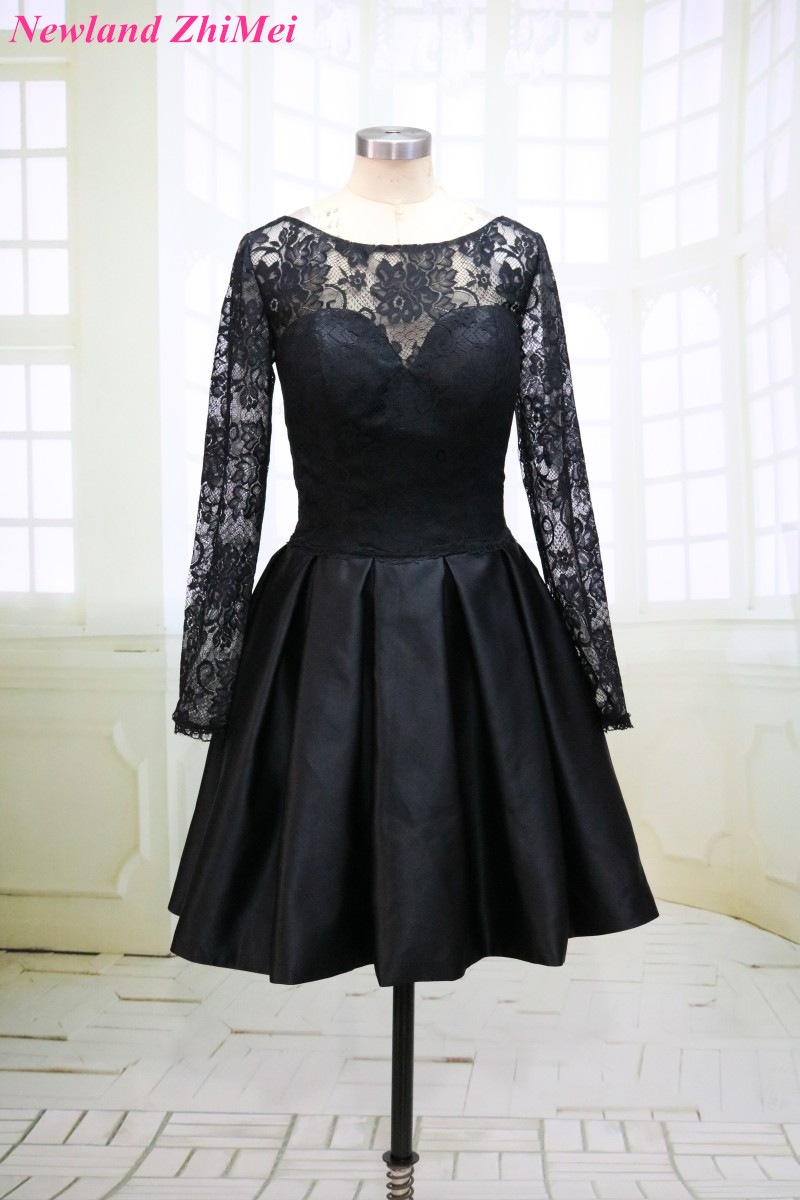 Cheap Short Black   Cocktail     Dress   with Long Lace Sleeves Sexy O Neck V Back Above Knee Satin Party   Dresses