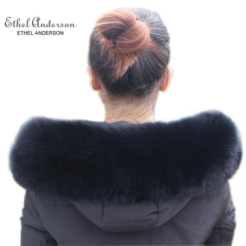ETHEL ANDERSON Real Fox Fur Collar Wraps Fluffy For Outwear Jean Coat's Hood Simple Scarf Plush Black Warm Fur Collar