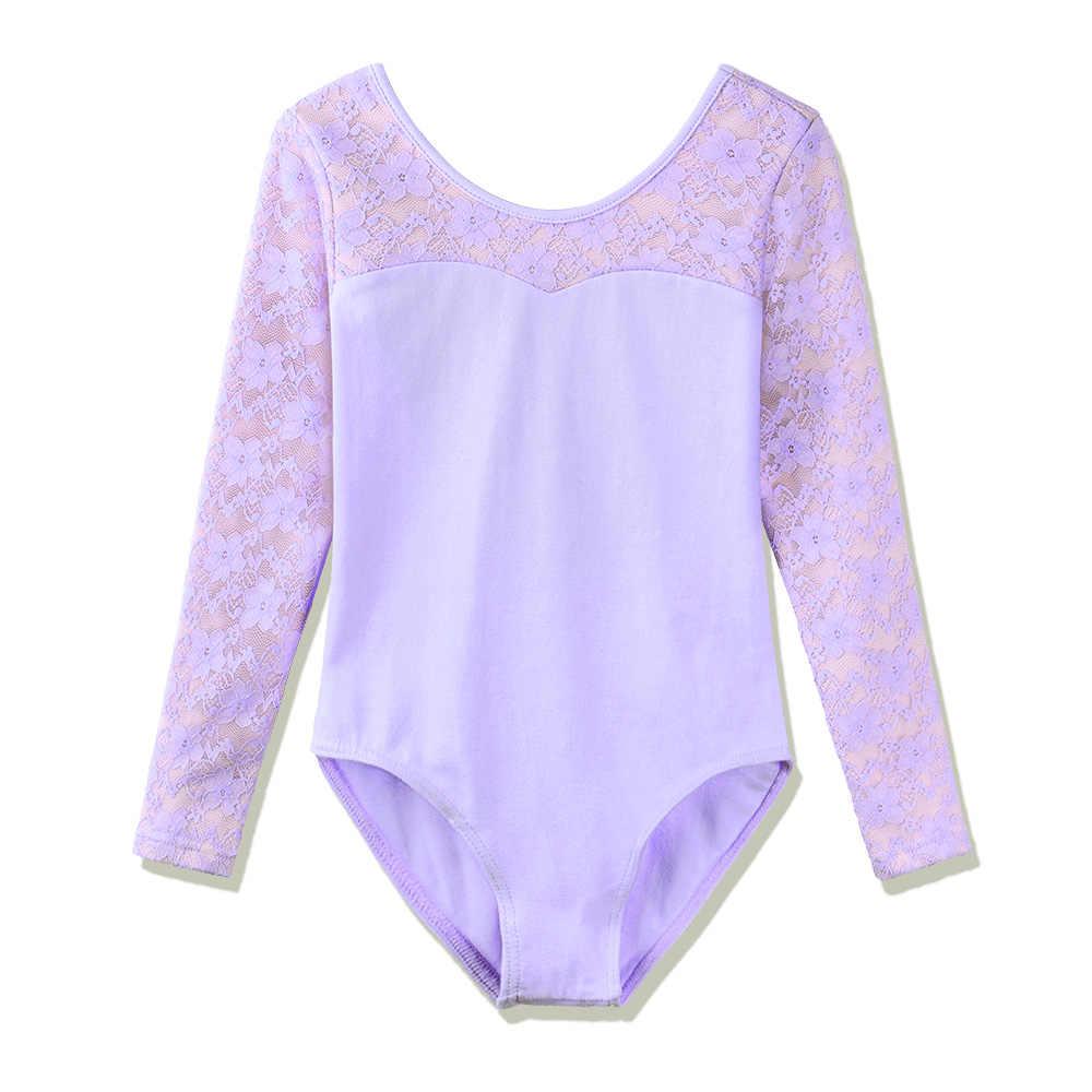 BAOHULU/для малышей и подростков с длинными рукавами трико для девочек размер на 3–8 лет Детское платье для балета, танцев трико теплые бодисьют юнитард кружево