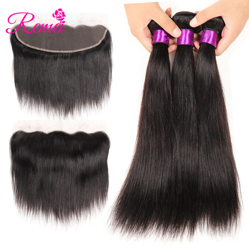 Rcmei Brazilian Straight Hair With Closure 3 4 Bundles Non Remy Human Hair Bundles With Ear to Ear Lace Frontal Free Part 13*4