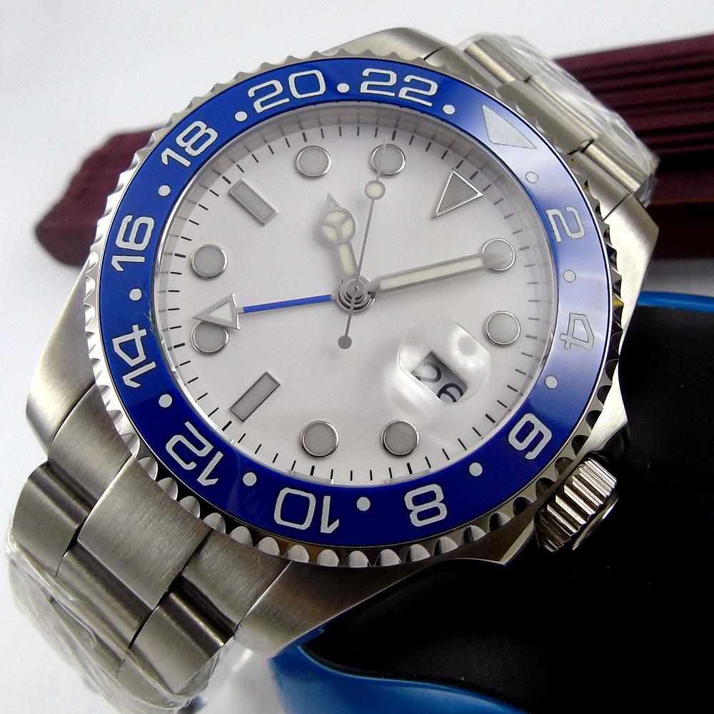 Top Hot 43mm Bliger White Sterile Dial Blue ceramic bezel GMT Date Luminous Hands Sapphire Glass Automatic Movement Men's Watch