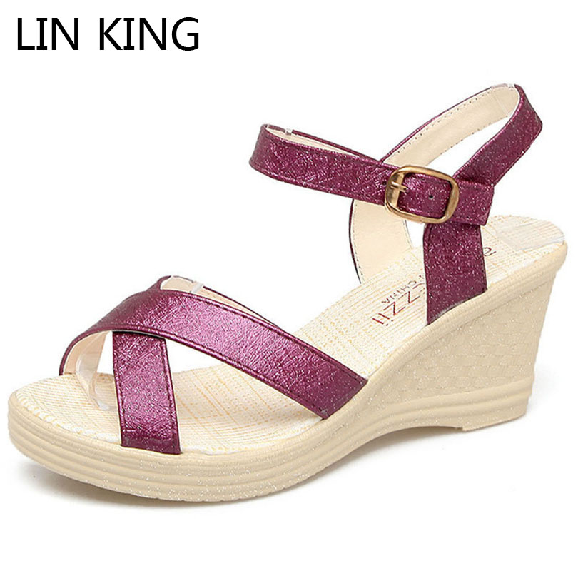 LIN KING Comfortable Buckle Peep Mouth Wedge Sandals Fashion Solid Women Summer Shoes Sexy Height Increase Woman Summer Shoes