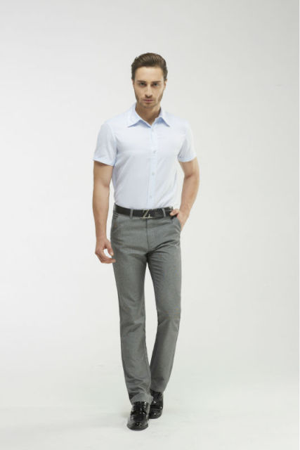Man's Light Grey Full Length Pants High Quality Business Casual ...