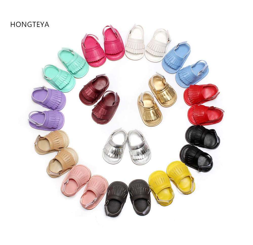 HONGTEYA 2017 Summer infant sandals Muticolor Hot sale Pu leather Baby moccasins child Double Tassel Rubber sole Baby shoes