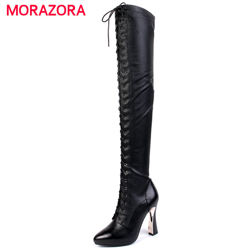 MORAZORA Genuine leather boots fashion punk autumn winter high heels shoes woman over the knee boots top quality pointed toe dijigirls new autumn winter women over the knee boots shoes woman fashion genuine leather patchwork long high boots 34 43