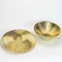 Керамика декоративные чаши Современный Творческий золотой геометрические вертикальные полосы украшения дома украшения