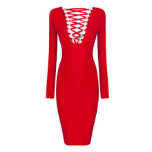 Free Shipping New 2016 Fashion Women Lace up Long Sleeve Red Bandage Dress Winter