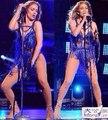 Frete Grátis Novo 2015 Venda Quente Azul Vermelho Verde Lantejoula Fringe Bling Sexy Beyonce Bodysuit Traje de Dança/Beyonce Collant