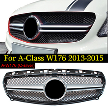 W176 Front Grill Grille suitable abs Silver For Mercedes Benz A-CLASS A180 A200 A250 A45 AMG 2013-2015 Auto Racing Grille цена в Москве и Питере